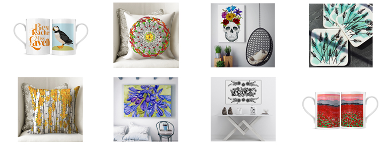 Some of our unique designs on a variety of products such as canvas prints, cushions, coasters and mugs.